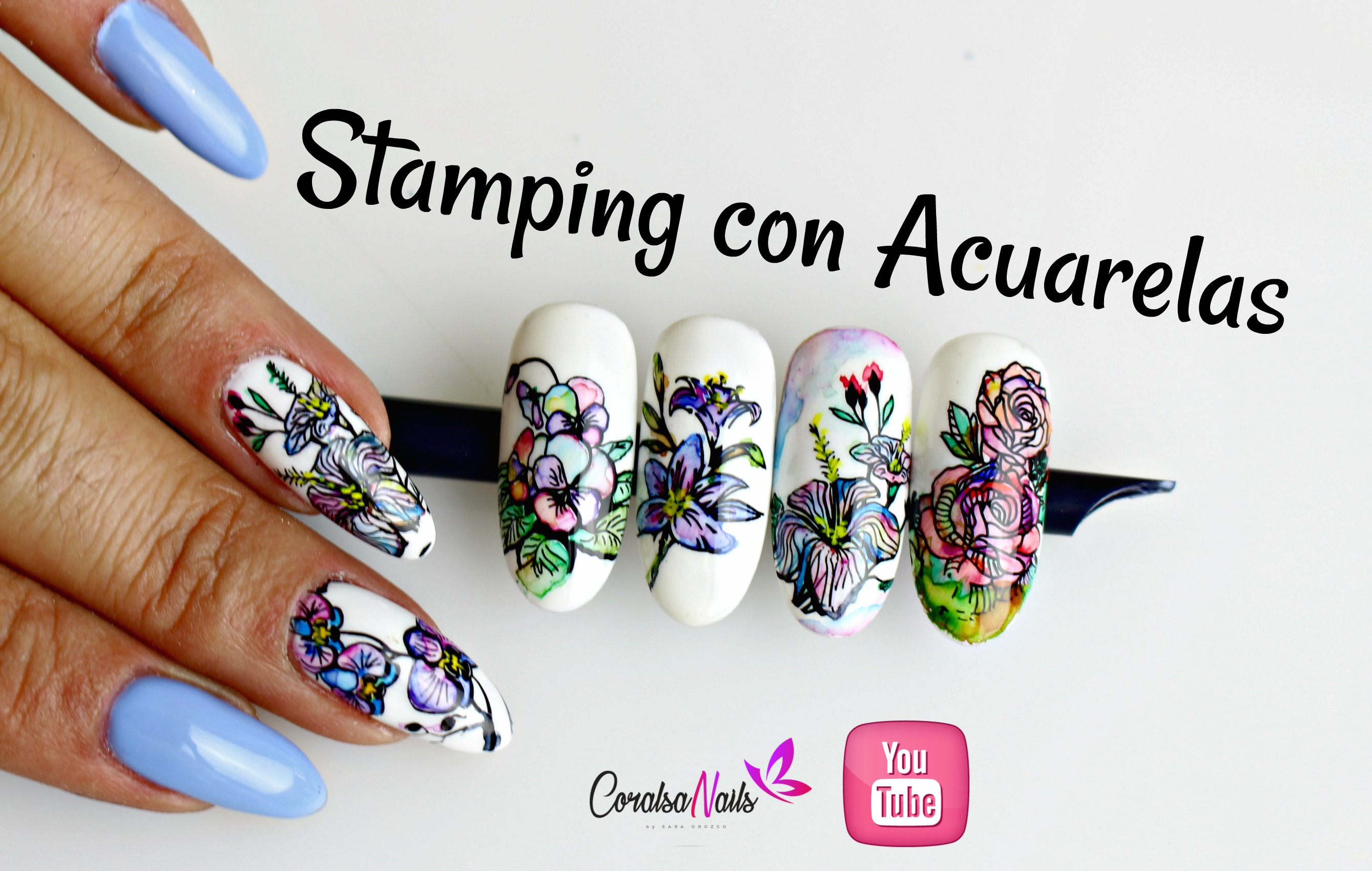 Stamping con Técnica de Acuarela