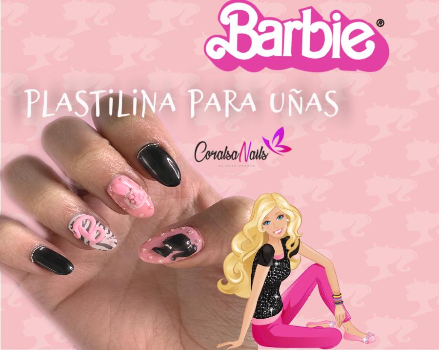 Uñas Barbie, Decoración en 3D con plastilina.